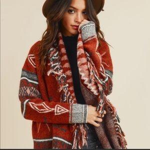 Native Cowichan blanket sweater. NWT.